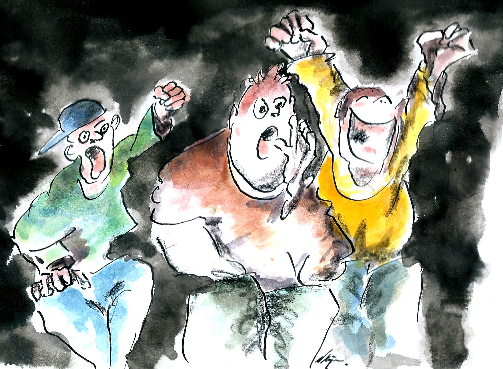 Tekening van drie supporters